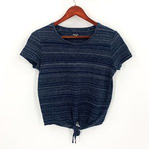 Madewell Blue Striped Tie Front Tee